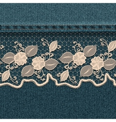 Denim background with white lace ribbon vector