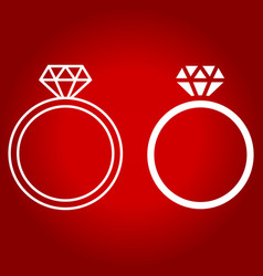 Diamond ring line and glyph icon vector