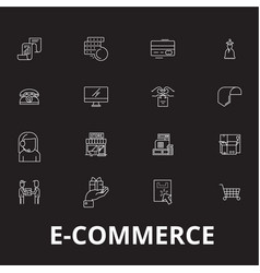 e-commerce editable line icons set on black vector image