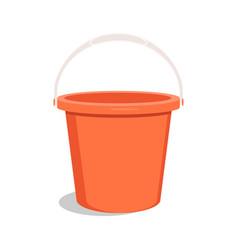 Empty red bucket bucket for garden vector