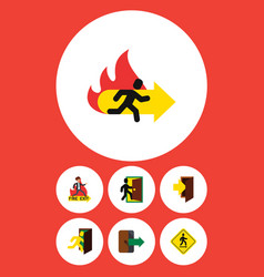 Flat icon emergency set of fire exit direction vector