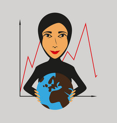 Flat icon on theme arabic business woman vector