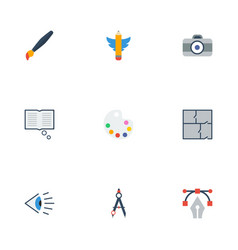 flat icons eye photo scheme and other vector image