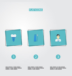 Flat icons implantation orthodontist toothbrush vector