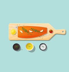 Fresh raw salmon fish and spices on cutting board vector