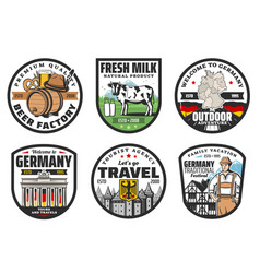 German travel landmark isolated icons tourism vector