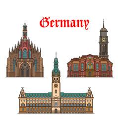 german travel landmarks icon church city hall vector image
