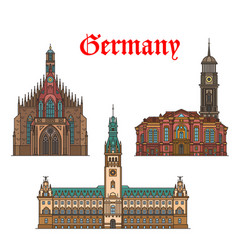 German travel landmarks icon of church city hall vector