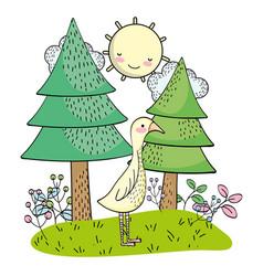 goose wild animal cartoon vector image