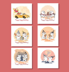 greeting cards with cute bears birthday vector image