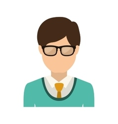 Half body man with formal suit and glasses vector