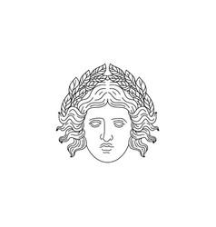 Hand drawn antique goddess with laurel brunch vector