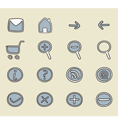 Hand drawn icon button set vector image
