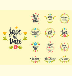 Hand drawn typography save the date quote vector
