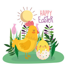 happy easter hen and chicken in eggshell grass vector image