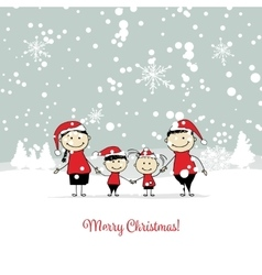 Happy family christmas card for your design vector