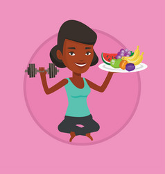 healthy woman with fruits and dumbbell vector image vector image