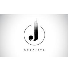 J brush stroke letter logo design black paint vector