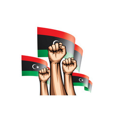 Libya flag and hand on white background vector
