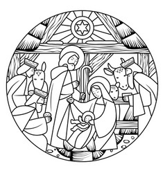 Linear drawing of birth of jesus christ scene in vector