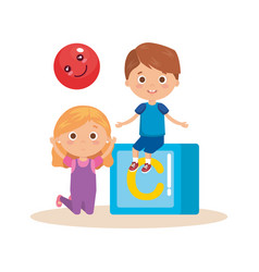 little kids couple playing with block vector image