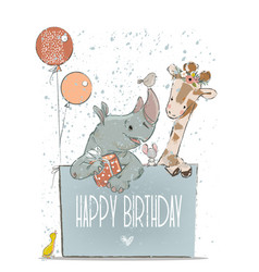 little lovely rhino with giraffe mouse and birds vector image