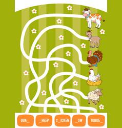 maze game for children goat cow chicken turkey vector image