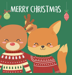 merry christmas celebration cute fox and deer vector image