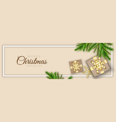 merry christmas minimal header design with xmas vector image
