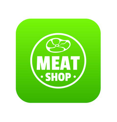 modern meat shop icon green vector image