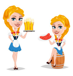 oktoberfest with sexy redhead girl sitting on vector image vector image