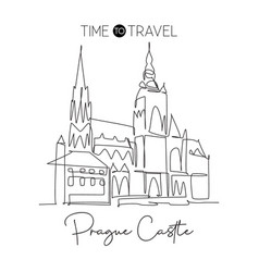 One single line drawing prague castle landmark vector