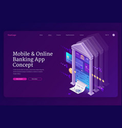 online banking mobile app isometric landing page vector image