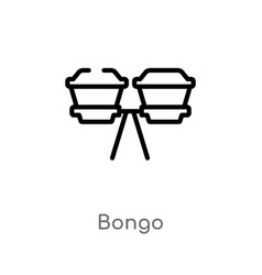 Outline bongo icon isolated black simple line vector