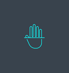 palm recognition concept blue line icon simple vector image