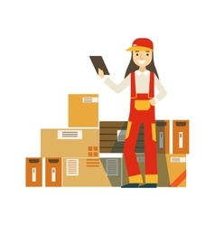 Paper Box Packages Piled Up In Warehouse With A vector image