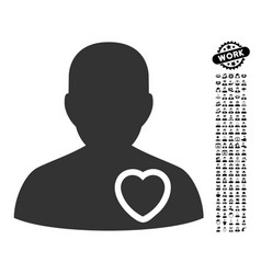 Patient heart icon with men bonus vector