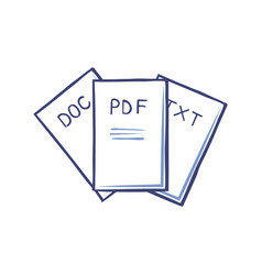 Pdf and doc txt documents isolated icons vector