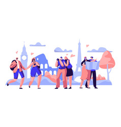 people group travel take photo europe sight vector image