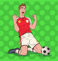 pop art soccer player celebrating goal footballer vector image