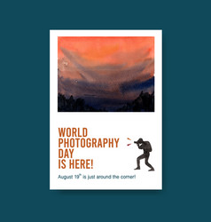 poster template design with world photography day vector image