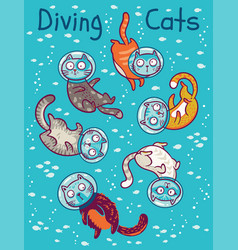 Print with cats in ocean vector