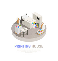 printing house polygraphy isometric composition vector image