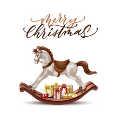 Realistic rocking horse vintage 3d toy vector