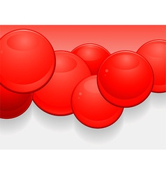 Red glossy 3D spheres landscape background vector image