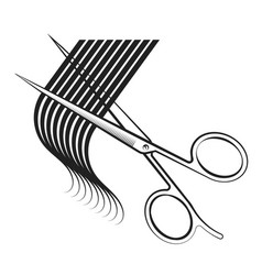 Scissors cut hair curl vector