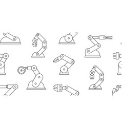 seamless pattern with robotic arms vector image