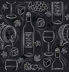 Seamless patterns with red wine set cask barrel vector