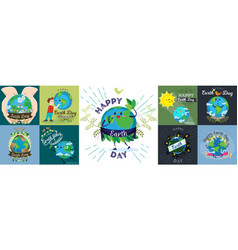 Set for earth day happy boy hugging planet vector