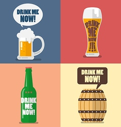 Set of beer icon with word drink me now vector